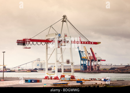 Cranes on the industrial port of Dunkirk France Europe - Stock Photo
