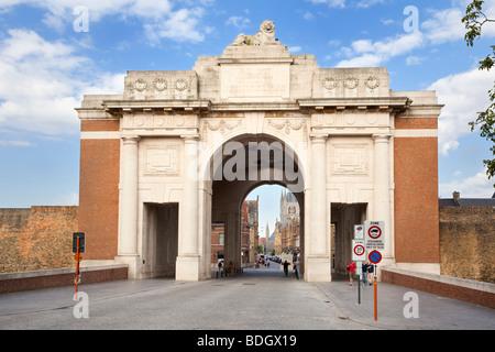 Menin Gate World War 1 memorial at Ypres Belgium Europe - Stock Photo