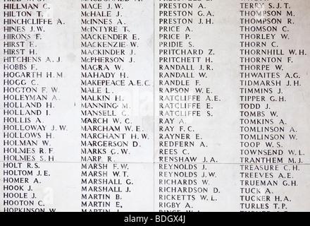 Walls bearing names of missing soldiers at the Menin Gate WW1 memorial at Ypres Belgium Europe - Stock Photo