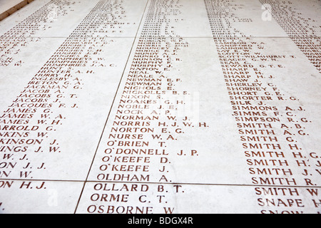 Walls bearing lists of names of the missing British soldiers at the Menin Gate WW1 memorial at Ypres, Belgium, Europe - Stock Photo
