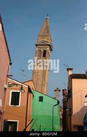 leaning church steeple Brightly coloured House in Burano,  Venice Veneto, Italy  91475-Venice - Stock Photo