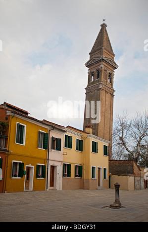 Leaning church steeple Brightly coloured House in Burano,  Venice Veneto, Italy 91484-Venice - Stock Photo
