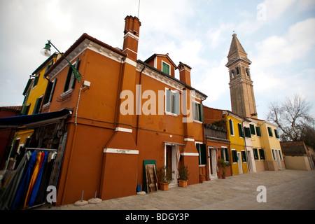 Leaning church steeple Brightly coloured House in Burano,  Venice Veneto, Italy 91485-Venice - Stock Photo