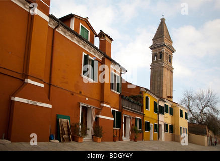 Leaning church steeple and Brightly coloured House in Burano,  Venice Veneto, Italy 91487-Venice - Stock Photo