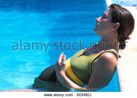 Woman Everyday Life Outside Swimsuit Pool Sun Protection Pregnant Stock Photo Royalty Free