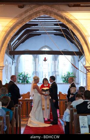 Wedding service in Church of England Church - Stock Photo