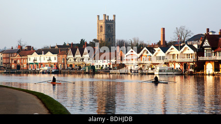 Early morning rowing Henley-on-Thames Oxfordshire England UK - Stock Photo