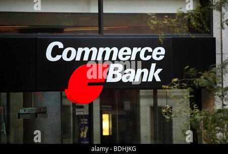Commerce Bank logo, Philadelphia, USA - Stock Photo