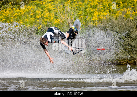 Young man doing waterski tricks at the EAME 2009 championship - Stock Photo