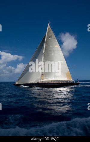 J-Class yacht Velsheda racing at Antigua Classic Yacht Regatta 2009 - Stock Photo