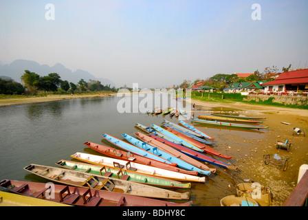 Vang Vieng, boats on the Nam Song River, Laos - Stock Photo