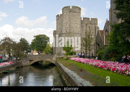 The Stone Bridge Over The River Stour And The West Gate Canterbury Kent England UK - Stock Photo
