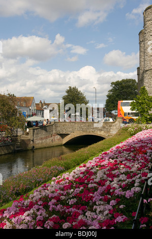 The Stone Bridge Over The River Stour By The West Gate Canterbury Kent England uk - Stock Photo