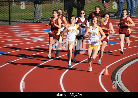 Bishop Fenwick High School students participate in after school track sports. - Stock Photo