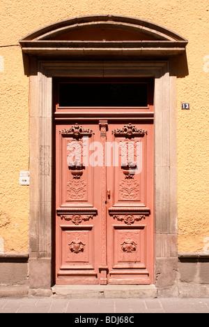 Spanish colonial doorway in the city of San Luis Potosi, Mexico - Stock Photo