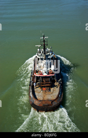 Aerial view of big tug boat 'North Arm Furious' on Fraser River - Stock Photo