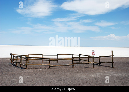 Fenced off Pet Area at the Bonneville Salt Flats in Utah, USA. - Stock Photo