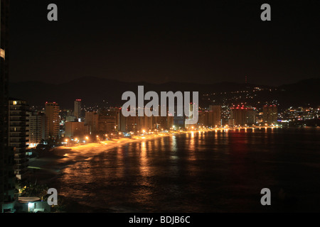 night view of acapulco bech in guerrero state, mexico - Stock Photo