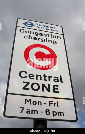 A Transport for London congestion charge sign in London, England, U.K. - Stock Photo