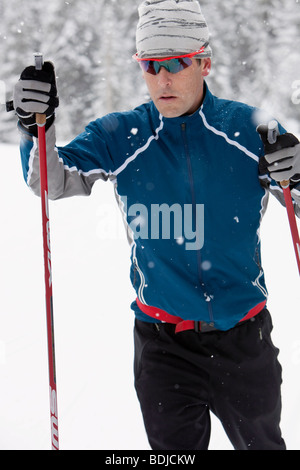 Close-up of Man Cross Country skiing, Whistler, British Columbia, Canada - Stock Photo