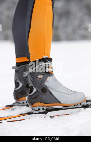 Close-up of Cross Country Skiier's Boots, Whistler, British Columbia, Canada - Stock Photo