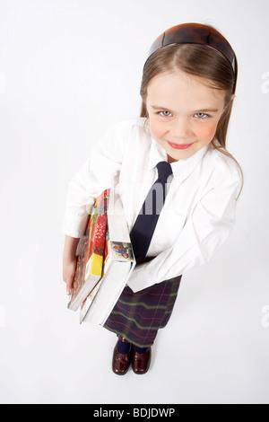Girl Wearing School Uniform - Stock Photo