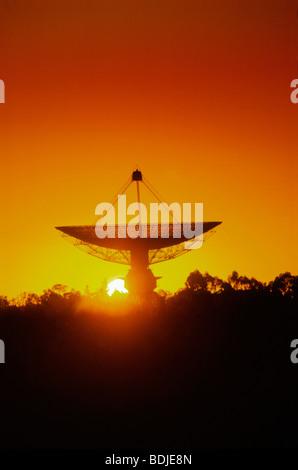 Radio Telescope, Satellite Receiving Dish, Sunset Silhouette