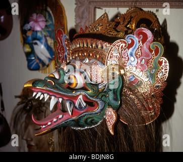 Indonesia, Bali, Crafts, Mas, Garuda carved mask by I.B. Sutarja - Stock Photo