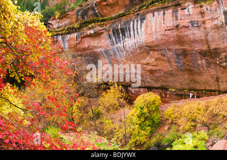 Fall color and cascade at the lower Emerald Pools (hikers visible), Zion National Park, Utah - Stock Photo
