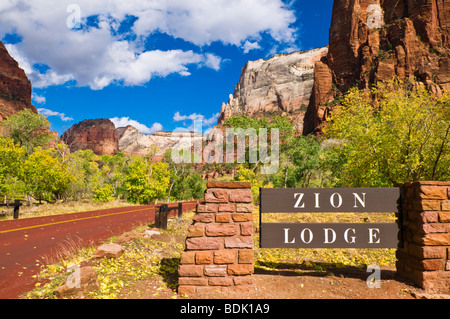 The Zion Lodge sign, Zion National Park, Utah - Stock Photo