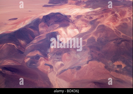 Aerial view of Andes mountains in north Chile - Stock Photo