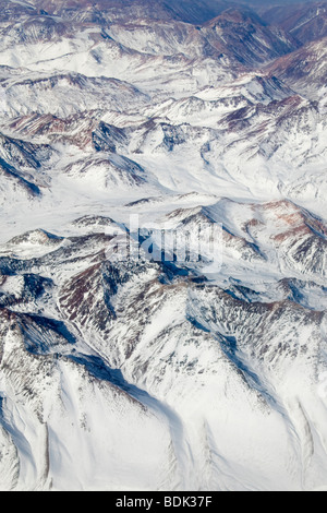 Aerial view of snow capped Andes mountains in north Chile - Stock Photo
