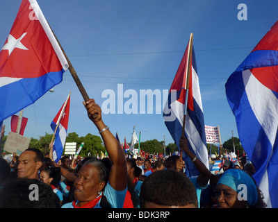 International Workers' Day March, Havana, Cuba. 1 May 2009 - Stock Photo