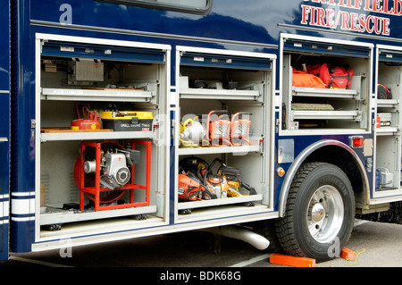 Fire department vehicle on display during a fire muster parade. - Stock Photo