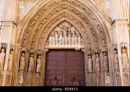 Spain , City of Valencia , Cathedral , Plaza de la Virgen , the old Gothic style Apostle's Door or Puerta de los - Stock Photo