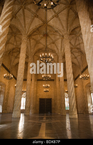 Spain City of Valencia , interior Contract Hall , Gothic La Lonja begun 1483 , home 1st public bank for commercial - Stock Photo