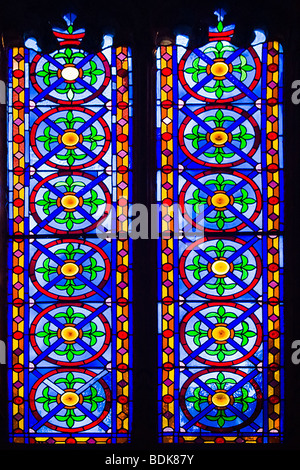 Spain , City of Valencia , Gothic La Lonja begun 1483 , interior internal stained glass window in corridor from - Stock Photo