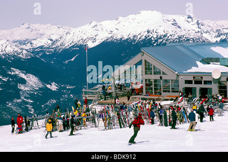 The Rendezvous Day Lodge on Blackcomb Mountain at Whistler Ski Resort in the 'Coast Mountains' of British Columbia - Stock Photo