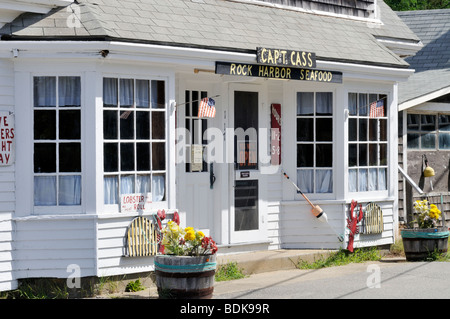Exterior of Captain Cass Rock Harbor Seafood store & restaurant in Orleans, Cape Cod USA - Stock Photo