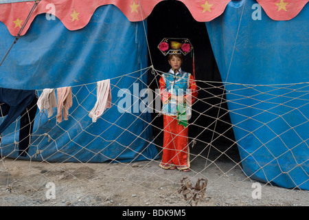 ORDOS, INNER MONGOLIA, CHINA - AUGUST 2007: Actress Hu Lin Lin, 28 wears the costume of Cixi, the last Queen of - Stock Photo