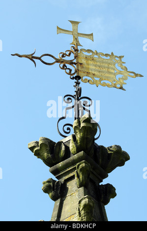 Weather vane on top of tower of St Mary's Church Warwick England - Stock Photo