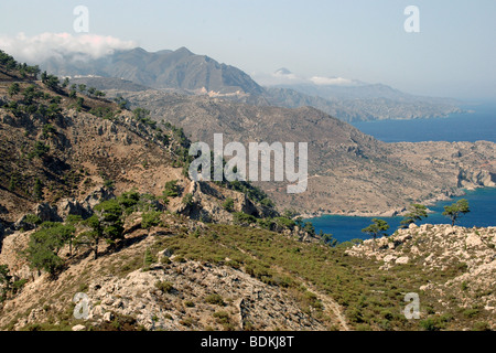 A northern view along the east coast of the island of Karpathos, looking towards the towns of Spoa and Olymbos in - Stock Photo