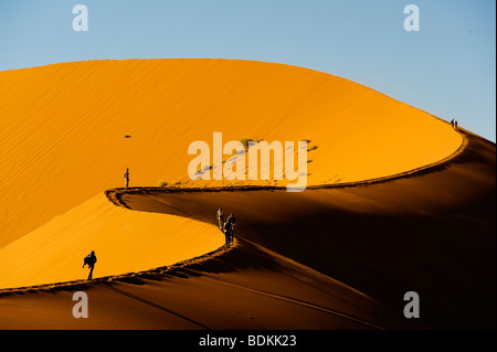 Sossusvlei dune is one of the biggest dune in the world, Namib Naukluft National Park, Namibia - Stock Photo