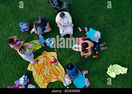 Paris, France - French Extended Family Picnicking in Reuilly Park, Aerial, Overview from above, Looking Down - Stock Photo