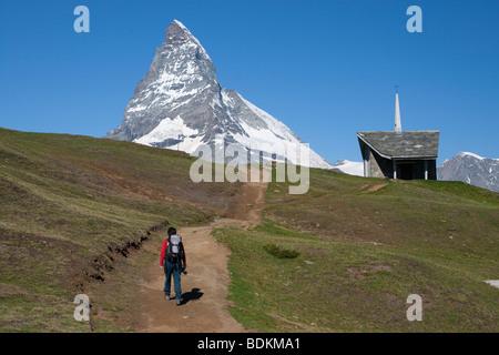 Hiking in Zermatt, Swiss Alps. - Stock Photo