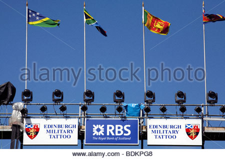 Gantry above the seating for the Edinburgh military tattoo - Stock Photo