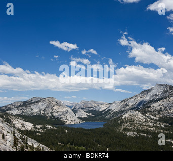 Yosemite national park, California - Tenaya lake and mountains viewed from above Olmsted point - Stock Photo