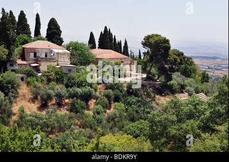 Landscape aerial view of the town of Rosh Pinna in Northern Israel - Stock Photo
