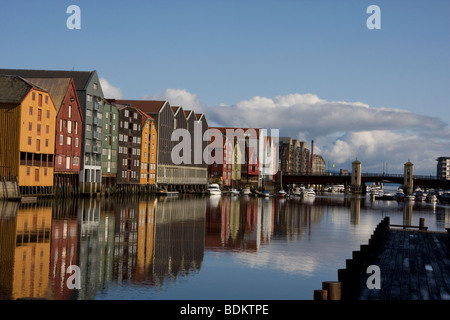 Wooden wharf buildings River Nidelva Trondheim Norway - Stock Photo