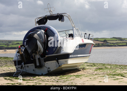 A boat on the beach at Rock, North Cornwall, England, U.K. - Stock Photo